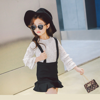 High Quality 2017 Fashion Spring Autumn Lace Solid Kid Children Girl Clothing Baby Girl Dress Overalls