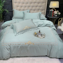 White Pink Egyptian Cotton Chic Embroidery Duvet Cover Bedding Set UItra Soft Natural Queen King size Bed sheet Pillow shams