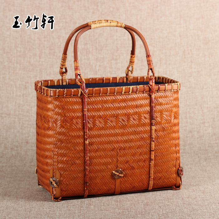 Japanese-style Retro Bamboo Hand-woven Arts And Crafts Young Women Japan Bamboo Bag Handbag Tea Storage Bag A4522 pear style silicone tea bag orange
