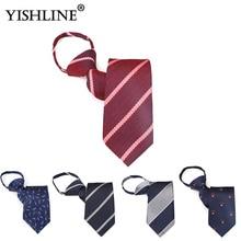 YISHLINE 2019 Mens zipper Neck Ties 2.56 INCH Cartoon Letter Stripes Tie Fashion Easy tied Wedding Party necktie