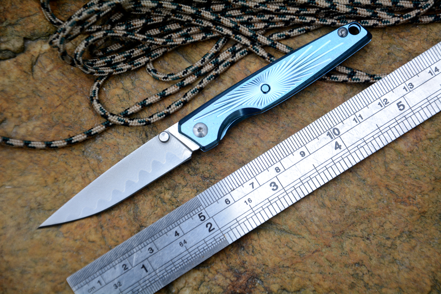 CH Brand Knife Mini Pocket Knife 2 2 Damascus Blade Titanium Handle Fold Gift Gentle Knife