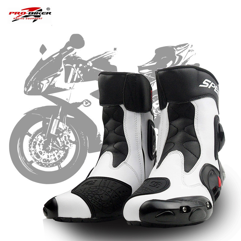 PRO BIKER SPEED BIKERS Men Motorcycle Racing Shoes Leather Motorcycle Boots Riding Motorbike Motocross Off Road
