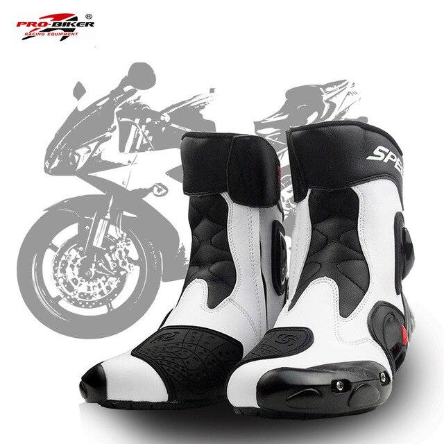 PRO-BIKER HıZLı BISIKLETÇILERI Erkekler Motosiklet yarış ayakkabıları Deri Motosiklet Botları Sürme Motosiklet Motocross Off-Road Moto Çizmeler A004