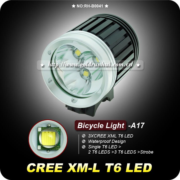 3sets 3 T6 Led 3800lm Bicycle Light With 3 Cree Xm L T6 4 Mode