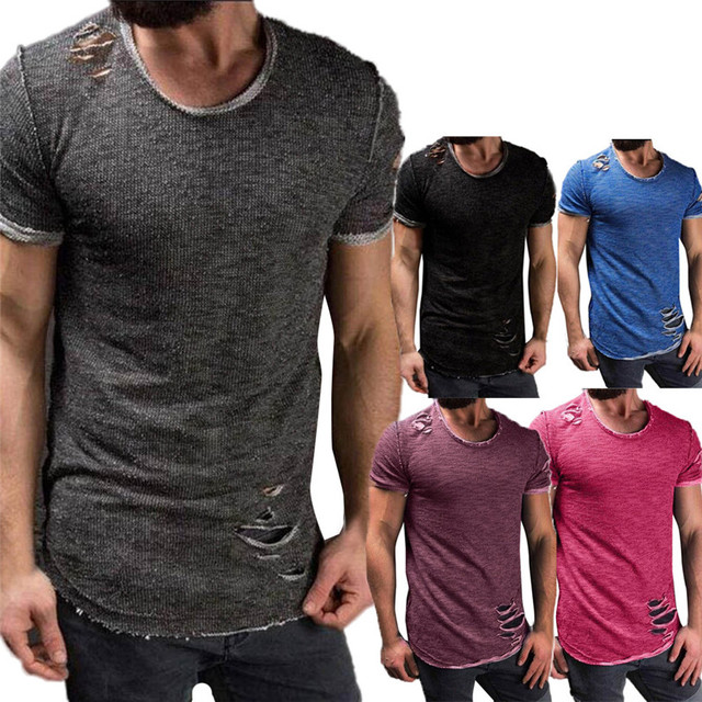 e394ec39227 Hot !Men T shirt 2018 New Summer Men Fashion Hole Round Collar Tees ...
