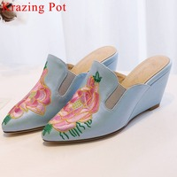 Krazing Pot classic Ethnic style embroidery high heels high quality PU pointed toe slip on mules elegant lady women pumps L8f6