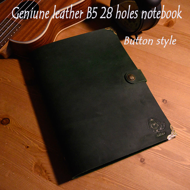 New B5 size genuine leather notebook sprial notebook 26 holes style vintage travelers journal school supplies free engrave name ootdty new fashion anime theme death note cosplay notebook new school large writing journal 20 5cm 14 5cm