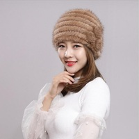ladies fur winter hats real mink fur beanies russian fur cap russian hats women rose gray khahi 6colors H61