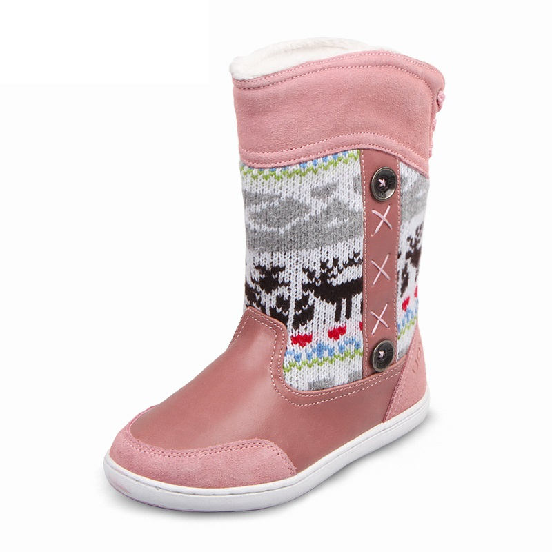 ФОТО UOVO 2017 new girls snow boots genuine leather fashion Christmas reindeer boots plush warm fur children casual winter shoes