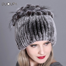 DUOUPA2019 Women Fur Hat for Winter Natural Rex Rabbit Fox Fur Cap Russian Female Fur Headgear 2018 New Fashion Warm Beanies Cap fashion 2018 russian winter mother