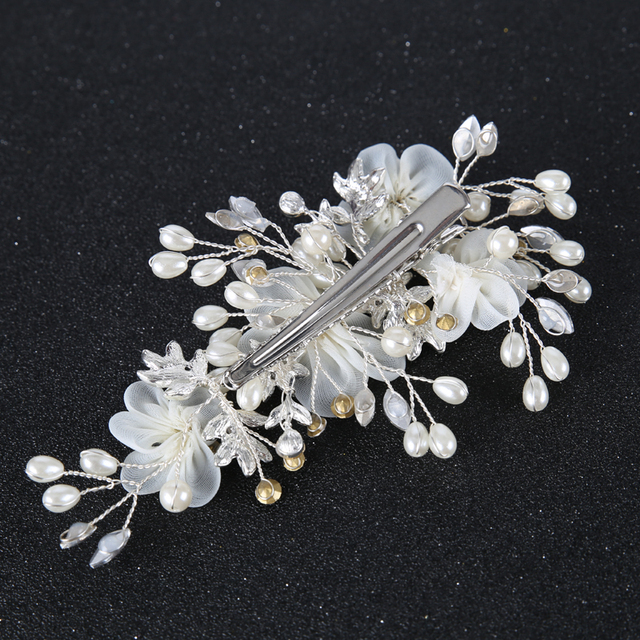 1PC Silver White Flower Women Hair Jewelry Pearl Rhinestone Combs Barrettes Bridal Hairpins Wedding Bride Hair Accessories Hot