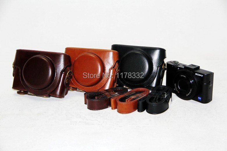 Hot Sale! Leather Camera Case Bag Cover Shoulder Strap for Sony DSC- RX100III RX100M2 RX100M3 +Shoulder Strap
