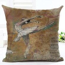 Pop Art Ballet Print Custom Car Cushion Cover Decorative Pillowcase Pillow Case for sofa home decor funda cojines 45x45cm