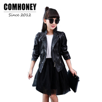 Comhoney Girls Leather Jackets Children Outwear For Teen Kids Clothes Spring Autunm Winter Coat Baby British
