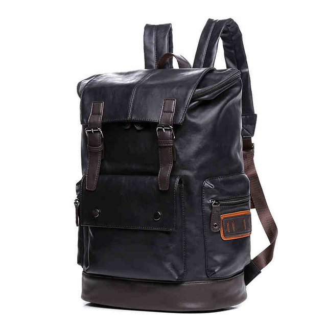 """Simple Patchwork Large Capacity Mens Leather Backpack For Travel Casual Men 14"""" laptop Daypacks Leather Travel Rucksack mochila"""