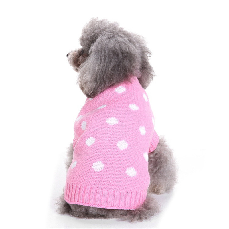 New Autumn/winter Wool Dog Sweater Simple Christmas Dot Pattern Knitting Sweater for Medium and Big Pet Dog Clothes (blue,pink)