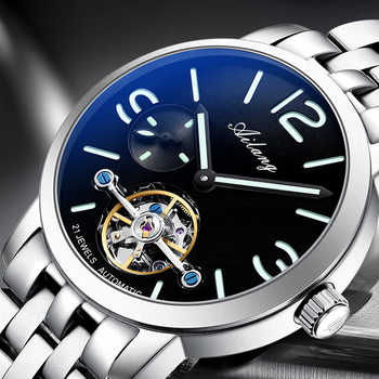 AILANG original watch top luxury men\'s automatic mechanical watch hollow gear sports waterproof watch leather business men\'s - DISCOUNT ITEM  42 OFF Watches