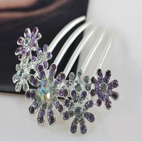High Quality Hair Clip Comb Womens Crystal Rhinestone Petal Comb Flower Hair Pin Clip Accessories Health & Beauty