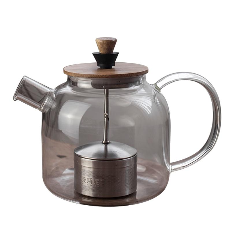 Креативный стеклянный чайник на колесиках электрическая керамическая плита чайный горшок фильтр внутренний черный чай пуэр чай с термостойким чайником пароход Заварники      АлиЭкспресс