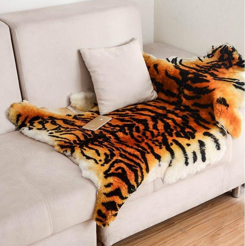 Grande taille tapis moelleux zone tigre fourrure Imitation tapis salon chambre tapis couverture mouton fourrure douce couverture fourrure laine tapis
