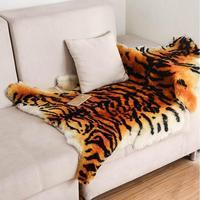 Large Size Fluffy Area Rug Tiger Fur Imitation Carpet Living Room Bedroom Carpet Blanket Sheep Fur Soft Blanket Fur Wool Mat