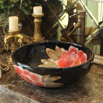 Bthroom Counter Top Wash Basin Cloakroom Hand Painted Vessel Sink bathroom sinks porcelain wash basin black with peony pattern