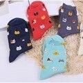 Vivid color nuevo gato del color del caramelo lindo de la historieta sox otoño del verano del sur corea moda mujer calcetines de algodón