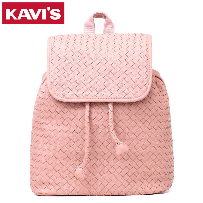 2017 New Fashion High Quality PU Leather Backpack Simple Style Weave women Kit Bag Travel School Bags Pink Soft Small Back Pack  2016 high quality fashion new women backpack pu leather ladies shoulder bag college frosted backpack wild simple mini school bag