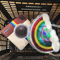 Cute fashion unique personality style sequined mini rainbow laser camera pu shoulder bag handbag messenger bag flap casual purse