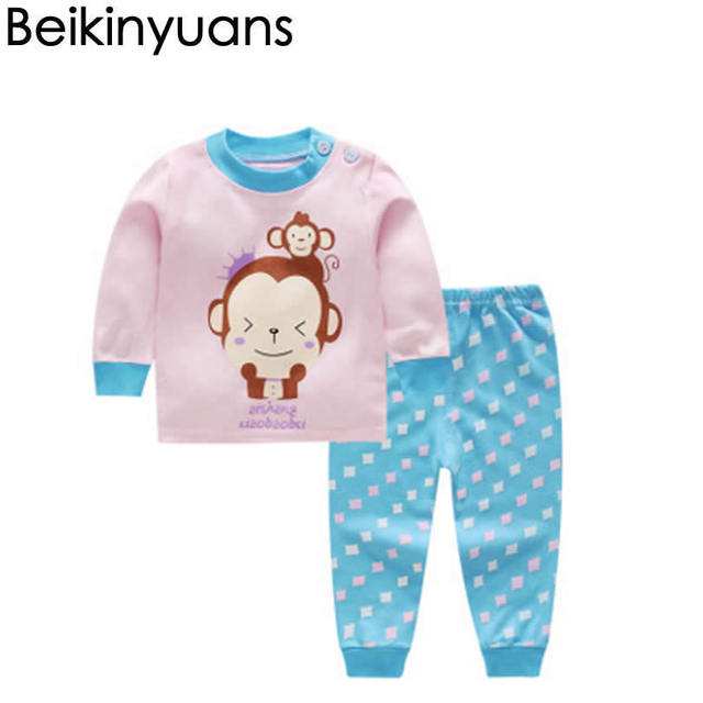 10a8dec011e3 Toddler Baby Boys Girls Underwear Suit Cotton Long Sleeve Monkey Print  Pajamas Set Nightwear T shirt + Pants Kids Sleepwear