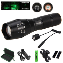 5000 Lumens Tactical Q5 LED hunting Light Adjustable Focus Flashlight Green Torch optional Gun Mount 18650 Battery Remote Switch
