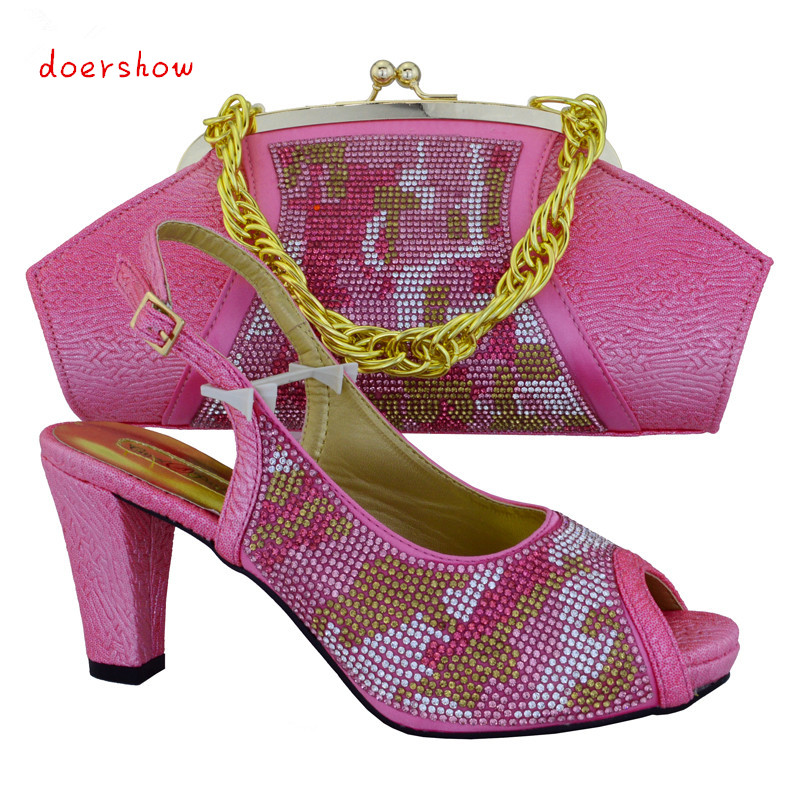 Free shipping African Fashion italian Shoes and Matching Bags set,Italy Shoes and Bags with flower PINK color,doershow!HVB1-31 цены онлайн
