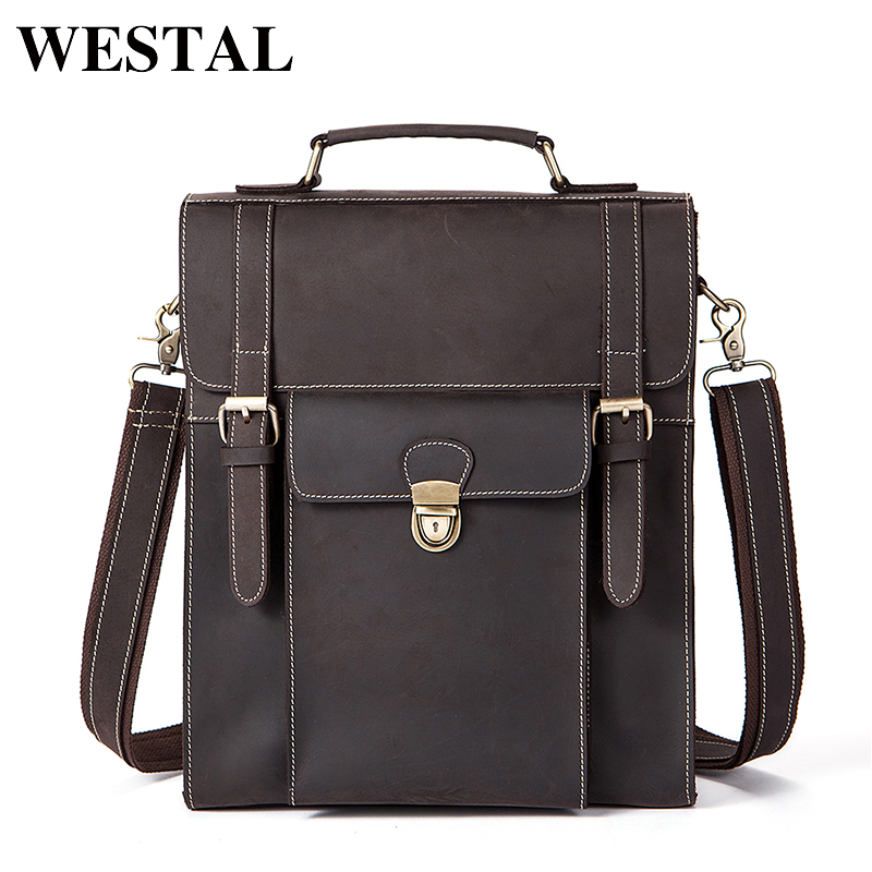 WESTAL Genuine Leather Men bag Casual Men's Briefcase Laptop Business Handbag Shoulder Men's Messenger Bag Men Travel bags 48748