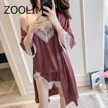 Zoolim sleepwear 섹시한 레이스 여성 잠옷 여성용 실크 잠옷 pijama 우아한 잠옷 여성 고품질 새틴 잠옷