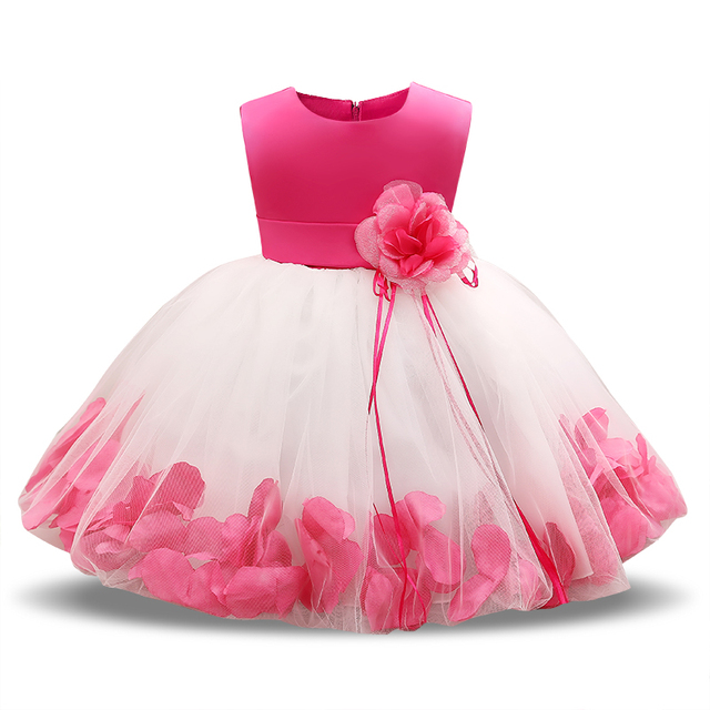 Fairy Petals Baby Girls Flower Wedding Dress 1 Year Birthday Outfits Tutu Newborn Girl Baptism Clothes Bebes Christmas Gift