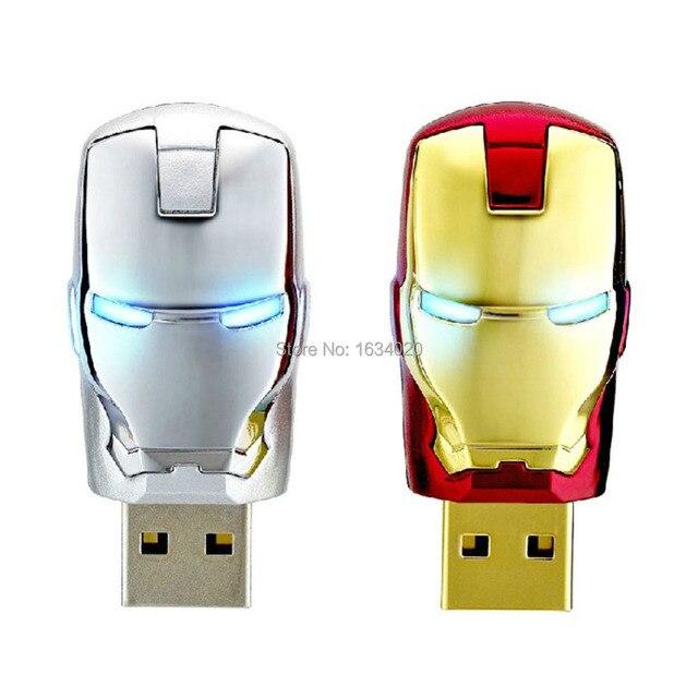 Hot Iron Man Face USB Flash Drives Memory Storage Pendrives USB 2.0 High Speed 64GB 32GB 16GB 8GB 4G Thumbdrive Card Stick Gift