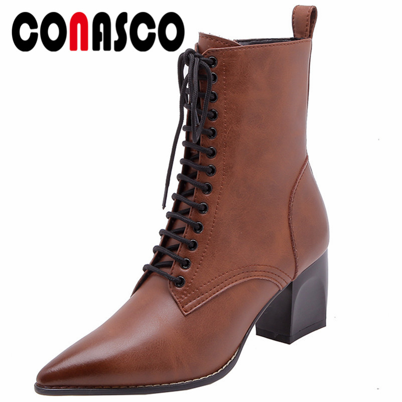 CONASCO Retro Women Genuine Leather High Heels Ankle Boots Corss-tied Party Dancing Shoes Woman Sexy Pointed Toe Martin Shoes CONASCO Retro Women Genuine Leather High Heels Ankle Boots Corss-tied Party Dancing Shoes Woman Sexy Pointed Toe Martin Shoes