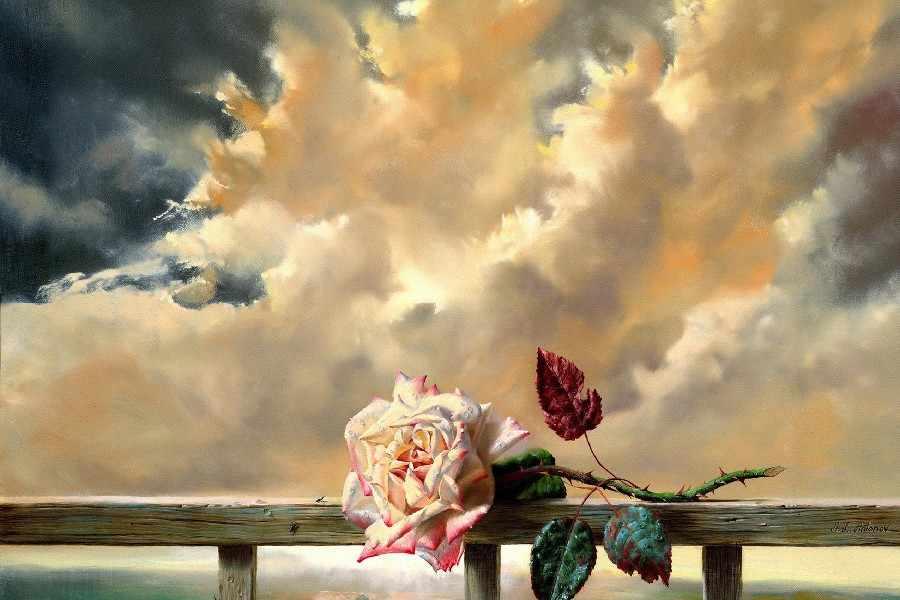 Diy Bingkai Bunga Awan Langit Suasana Hati Bokeh Art Lukisan Cinta
