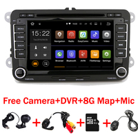 HD Quad Core 1024*600 Touch Screen Car radio VW android 7.1 dvd gps Wifi 3G Bluetooth Radio RDS USB IPOD Free Camera+Car DVR