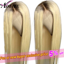 1B 613 Blonde Ombre Color Remy Peruvian Straight Wig Long Pre Plucked Glueless Lace Front Human Hair Wigs for Black Women(China)