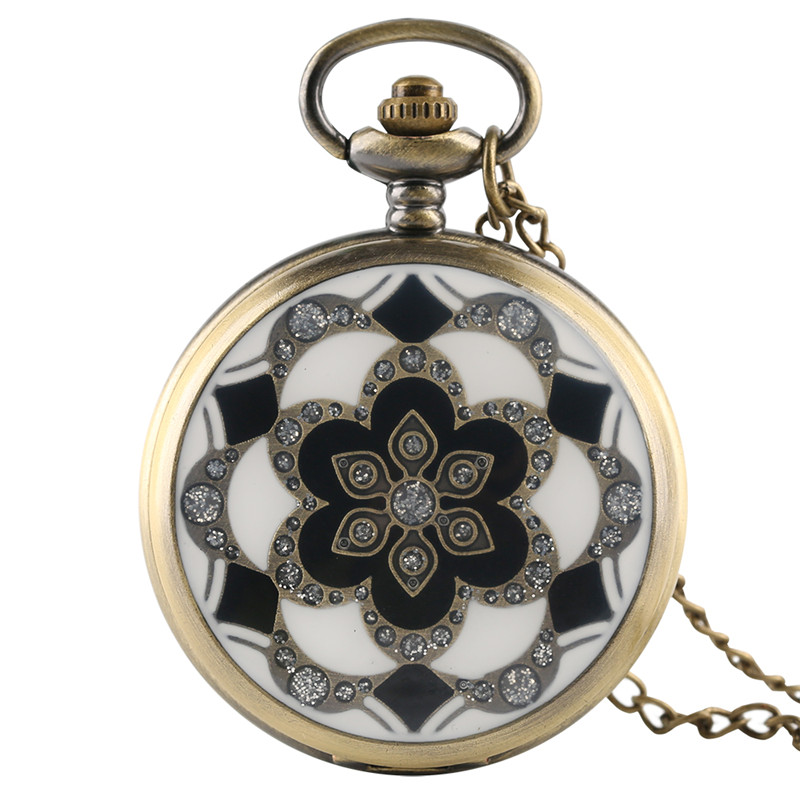 Fashion Vintage Elegant Ceramics Flowers Antique Quartz Pocket Watch Necklace Pendant Clock Men and Women Gift relogio de bolso
