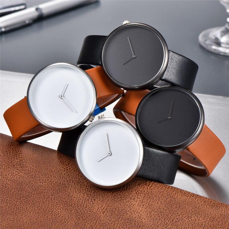 Минималистичный стиль Мужские Женские часы модные повседневные кожаные кварцевые наручные часы Аналоговые спортивные часы Relogio Feminino Masculino
