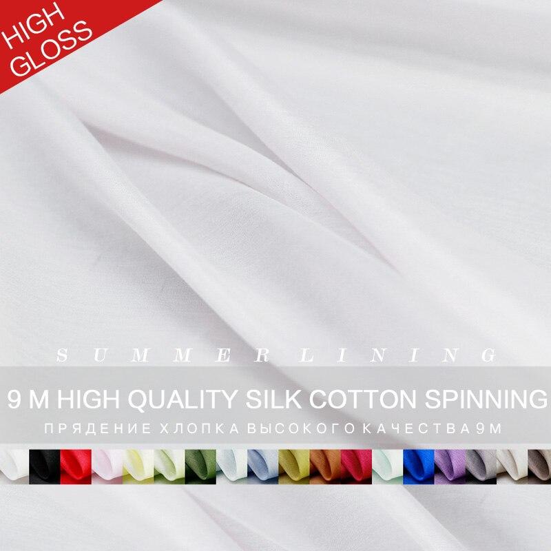 Pearlsilk Quality Smooth Silk/cotton Fabric Summer Dress Lining Garment Material DIY Clothes Fabrics Silk/cotton Freeshipping