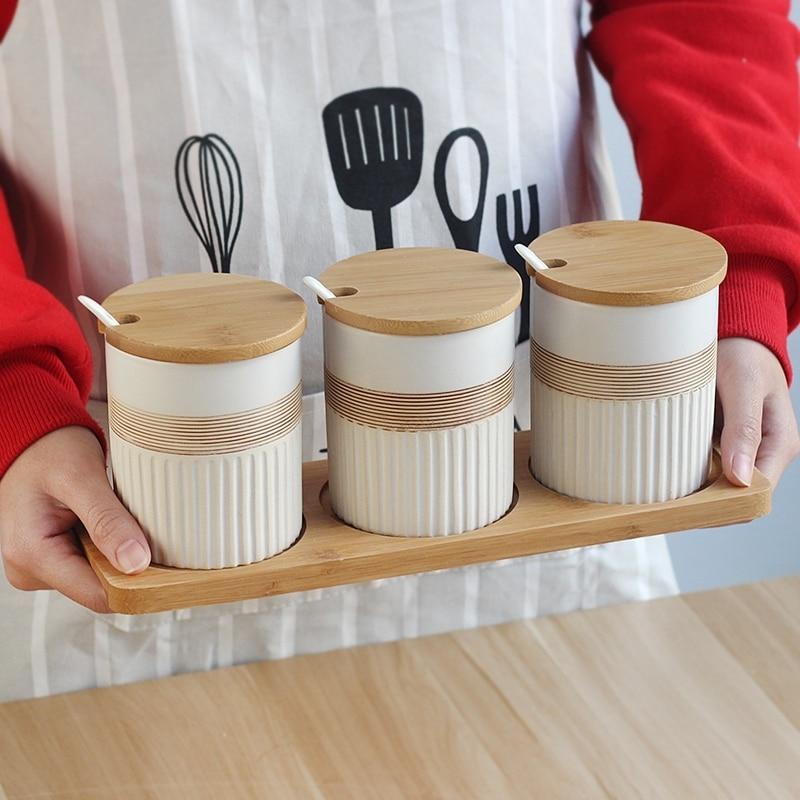 Kitchen Ceramics Pepper Salt Sugar Storage Jars for Spice Seasoning Storage Bottles with Bamboo Cover Tray