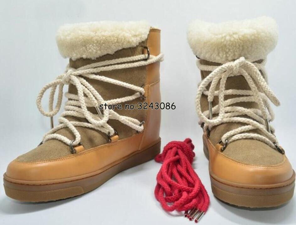 Hiver chaud fourrure peau de mouton doublé cuir bottes compensées cheville neige bottes deux lacets talon 8cm femmes chaussures chaussures décontractées livraison directe - 5