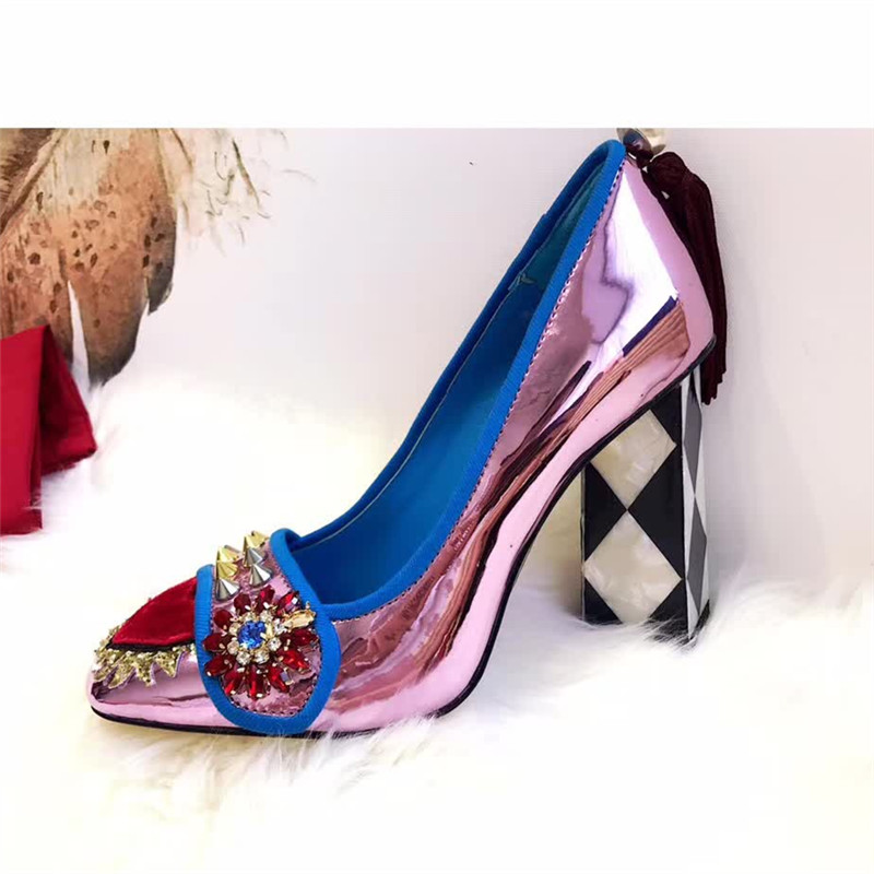 Prova Perfetto Cute Women Pumps Chunky High Heels Rivets Studded Wedding  Dress Shoes Woman Fringed Stiletto Valentine Shoe-in Women s Pumps from  Shoes on ... 58df1d70c495