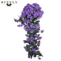 De alta densidad en especie de tiro Violet Orchid Ivy Flor Artificial Hanging Plant Garland Seda Vid de La Boda Decoración Del Hogar