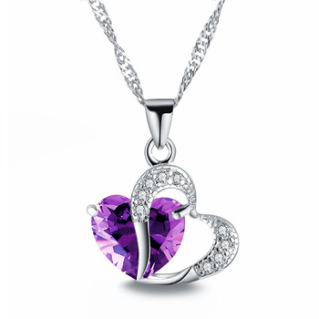 FAMSHIN 2018 Sell like Hot Cakes 6 colors Top Class lady Fashion Heart Pendant Necklace Crystal jewelry New Girls Women Jewelry