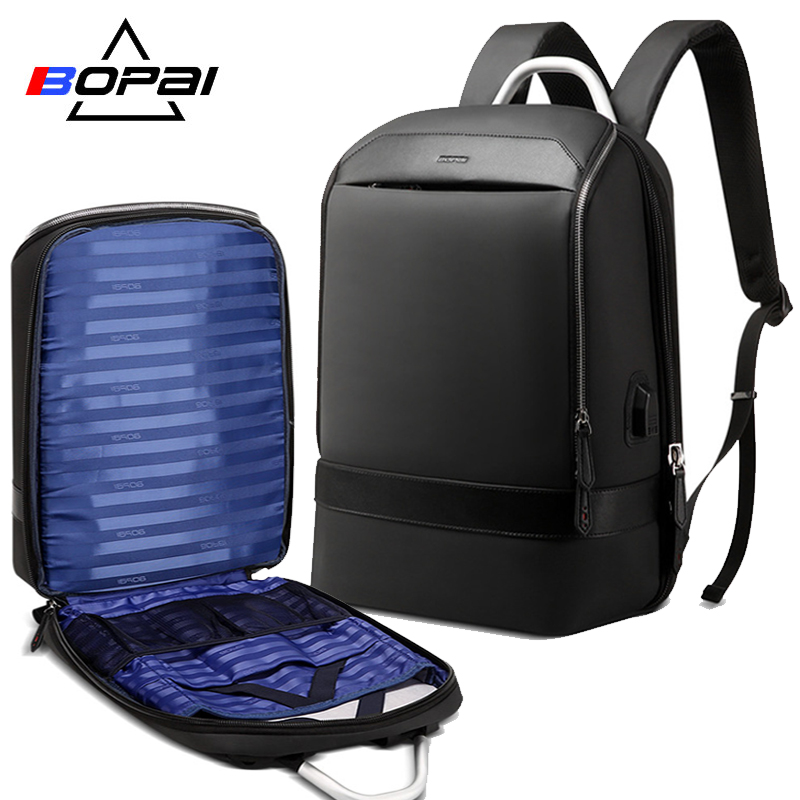 BOPAI Travel Backpack Multifunction USB Charging Large Capacity Anti theft Laptop Backpack for 15.6 inch Leather Waterproof Bag bopai laptop backpack with usb external charging port for 15 6 inch laptop men anti theft waterproof large capacity travel bag