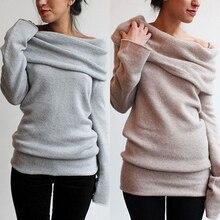 Новое поступление женский сексуальный Повседневный свитер с открытыми плечами и круглым вырезом с длинным рукавом вязаный джемпер Топ